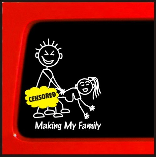 Sticker Connection | Making My Family Stick Figure Family Bumper Sticker Decal for Car, Truck, Window, Laptop | 3.8'x5.1' (White)