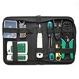 Kit de Herramientas de Red LAN Profesional compacta Herramientas de instalación de Red Probador de Cables Juego de Bolsas de Herramientas de pelado de crimpadores