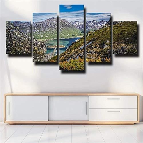 IJNHY 5 Piezas Cuadro sobre Lienzo De Fotos Paisaje Rocas Montaña Lago Lienzo Impresión Cuadros Decoracion Salon 150×80Cm Cuadros para Dormitorios Modernos Mural Pared Listo Colgar