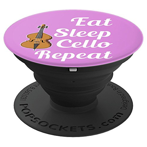 Cello Player - Cellist - Eat Sleep Cello Repeat - Purple PopSockets Grip and Stand for Phones and Tablets