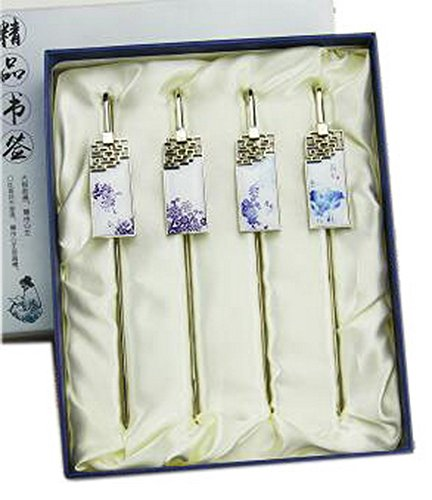 Chinesische blaue und weiße Porzellan Metall Lesezeichen, großes Geschenk