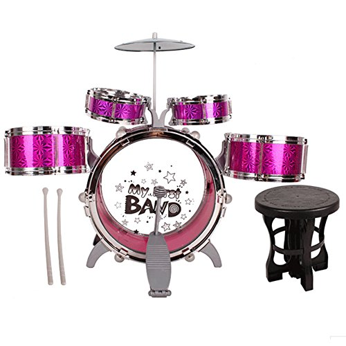 E Support Wonderful Jazz Rocker Musical Instrument Drum Set Best Gift for Children with 5 Drums Chair Cymbal Drumsticks Purple