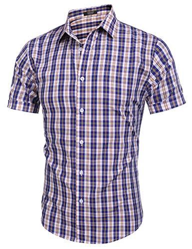 COOFANDY Hemden Herren Kurzarm Sommerhemd Regular fit Freizeit Shirt Bügelfreies Hemd mit Kent-Kragen