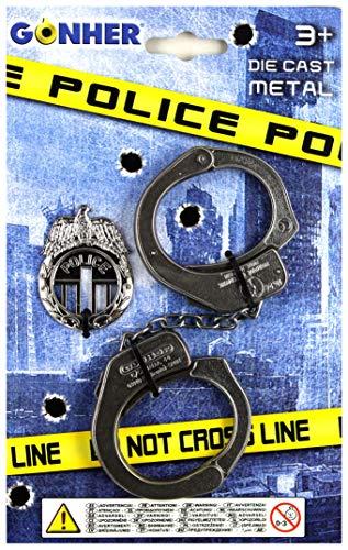 Gonher 324/0 Police Menottes et Insigne Noir