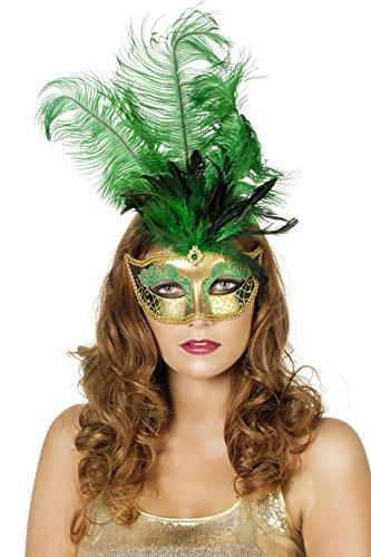 Jannes 34350 Venezianische Maske mit Langer Feder Venezianischer Karneval Venedig Einheitsgröße Grün