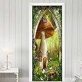 FGHXYNB 3D Door Mural Art Sticker, Home Creative Diy, Peel And Stick, Papel Autoadhesivo Y Calcomanía De Vinilo Extraíble, Casa De Setas De Dibujos Animados 80X200 Cm