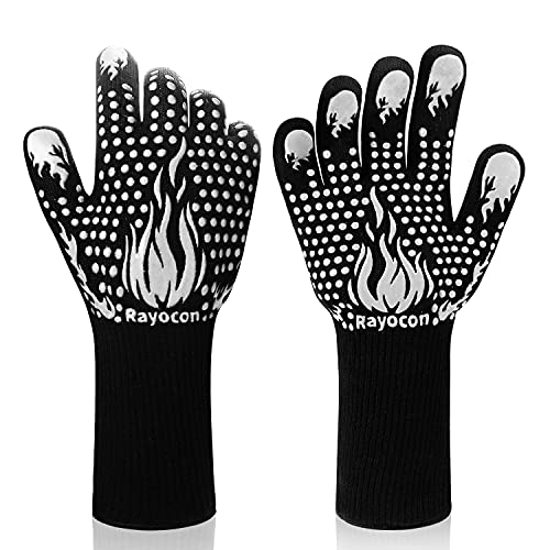 Rayocon BBQ Grilling Gloves 1472℉ Heat Proof Barbecue Grill Gloves Silicone Non-Slip Smoker Mitts Kitchen Oven Gloves for Cooking/Smoking/Baking/Welding, 14 Inch(Siliver)