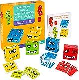 ZONJIE Puzzle de Expresiones de Madera, Juegos de Rompecabezas de Emparejar Caras con 12 Bloques de Construcción y 50 Diseño Tarjetas, Juguetes Educativos para Niños y Niñas 2 3 4 5 Años