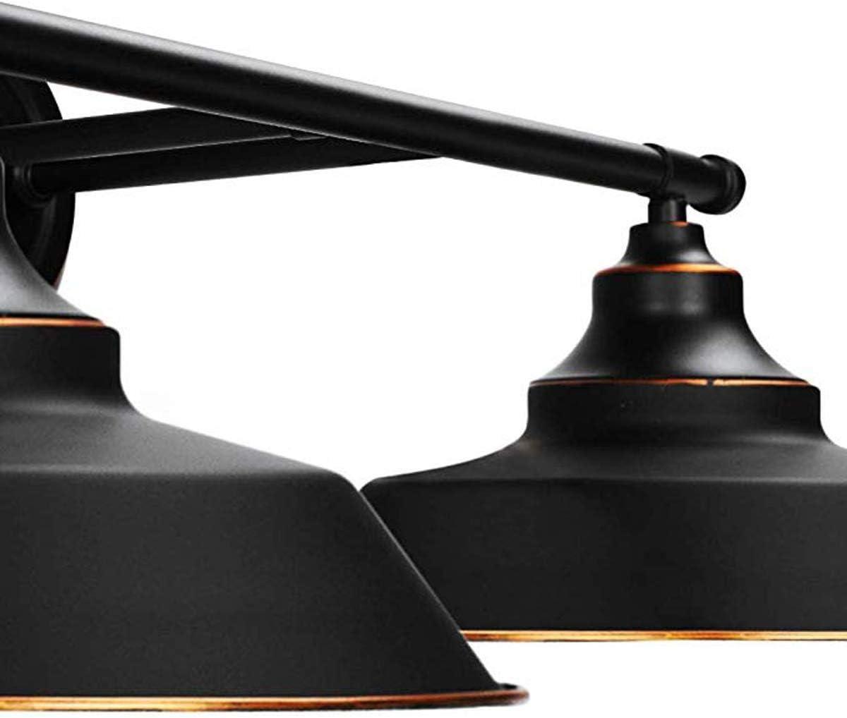 Wandlampe Vintage Wandleuchte E27 2-flammig Badezimmer Lampe Spiegelleuchte Badlampe Schwarz Metall Eisen Spiegellampe Wandmontage Badleuchte Wandlampe Innen Spiegel Frontleuchte Spiegelbeleuchtung Wandlicht