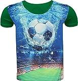 Fußball Kinder Jungen T-Shirt 3D Druck Kurzarm Shirt Hemd Polo Rundhals Freizeit (104-110, Grün)