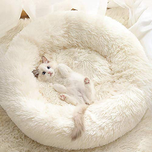 cat beds Gavenia Cat Beds for Indoor Cats,20''x20'' Washable Donut Cat and Dog Bed,Soft Plush Pet Cushion,Waterproof Bottom Fluffy Dog and Cat Calming and Self-Warming Bed for and Sleep Improvement,Beige