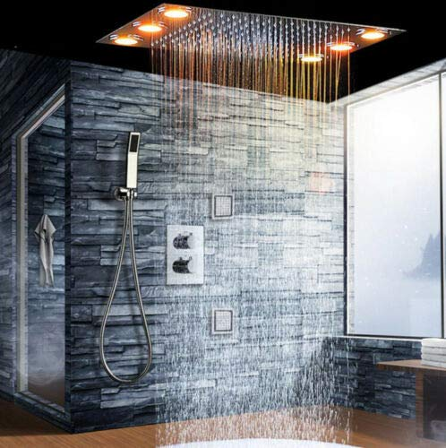 Best Price TQ 3 Way Thermostatic Mixer Bathroom Rain Shower Set with 3 Body Spray LED Lights