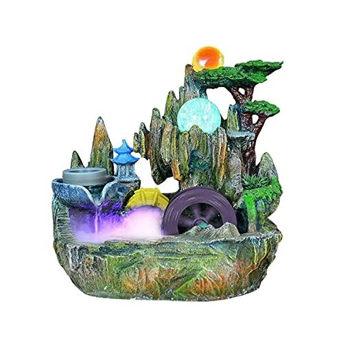 WBDZ Fuentes de Agua, Fuente de Mesa con Escalera de Rueda hidráulica de Bola rodante, Cascada de Fuente Interior de rocalla de Resina para decoración de Oficina en casa