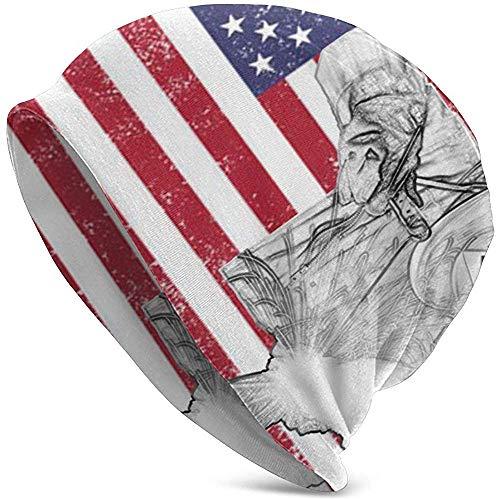 Maselia Gorras de Soldador Soldador Soldadura Retro American Flag Skull Cap Sombreros de Punto