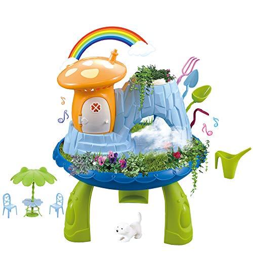 deAO Jardín en Miniatura Mi Cuento de Hadas Casita en el Bosque Mágico con Características de Niebla Juego de Botánica Infantil Incluye Semillas, Tierra y Accesorios Casa Encantada de Muñecas