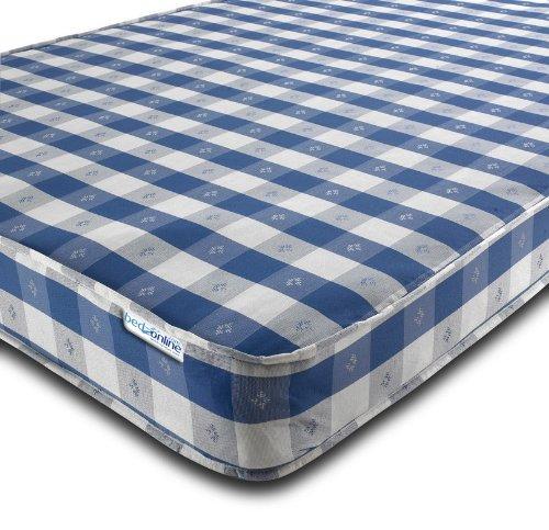 BEDZONLINE Budget Chequered Open Coil Mattress, Damask, Blue, Single