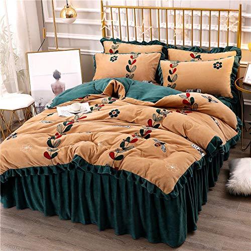 juegos de sábanas de 90 de oferta-Falda de cama de lana de leche espesa funda nórdica de franela de doble cara cama individual sábana de cama individual funda de almohada revisión de hotel familiar r
