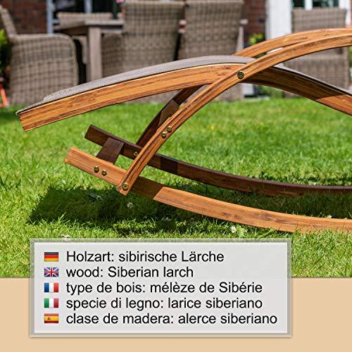 Ampel 24 Relax Schaukelstuhl Rio, Relaxliege mit Armlehnen, Gartenmöbel aus vorbehandeltem Holz, Stuhl Bespannung braun, wetterfeste Gartenliege - 3