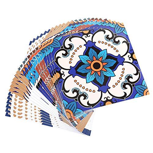 Topmail 24pcs Adhesivo para Azulejos de PVC Impermeable, Pegatinas de Baldosas Autoadhesivo, Estilo Marroquí Cuadrado para Cocina y Baño, 20x20cm