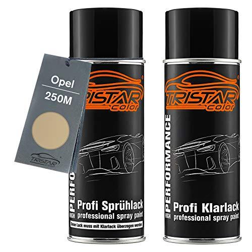 TRISTARcolor Autolack Spraydosen Set für Opel 250M Pannacotta Metallic/Gris Panacotta Metallic Basislack Klarlack Sprühdose 400ml