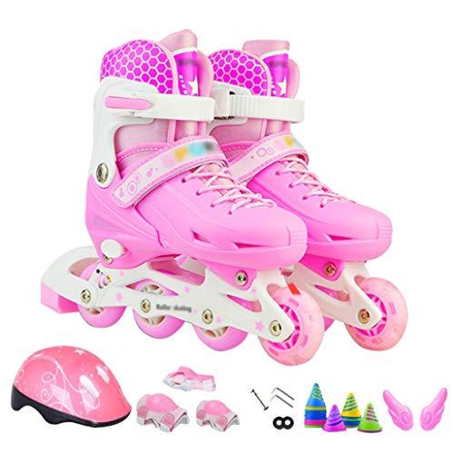 DPPAN Kinder Rollschuhe, Kinderinliner Mit Leucht Pu Räder Mit All Wheels Leuchten Auf Rollschuhe Mit Abgesichertem Sperrmodus Für Anfänger,Pink Suit_S(26-33)