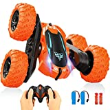 RC Stunt Car for Kids, 360°Flips Double-Sided Rotating 4WD 2.4Ghz Remote Control Car with LED Headlights, Outdoor Indoor Electric Car Toys Gifts for Ages 4 5 6 7 8 9+ Year Old Boys Girls Teens Adults