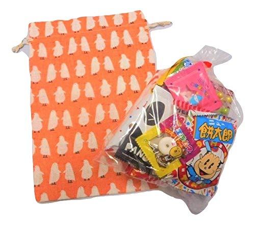 オシャレ巾着(とり)駄菓子 詰め合わせ Mサイズ 巾着袋 麻 プレゼント 贈り物 ギフト 子ども 小物入れ