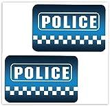 SkinoEu® 2 x PVC Laminado Pegatinas Adhesivos Logo Police Policía para Autos Coches Motos Ciclomotores Bicicletas Ordenador Portátil Regalo B 6