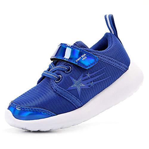 EIGHT KM Niños Niños Niños EKM7022 Estrellas Transpirables Ligeras de Tela Azul Zapatillas de diseñador de Velcro Zapatillas Escolares Tamaño 23