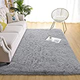 Beraliy Soft Bedroom Area Rugs for Living Room,Shag & Fluffy Kids Rug for Girls Room Boys Play Mat,Indoor Shaggy Floor Carpet for Baby Nursery Playroom-Perfect for Home Decor Rug,Grey 3x5 ft