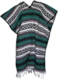 Del Mex Classic Mexican Blanket Poncho, Teal
