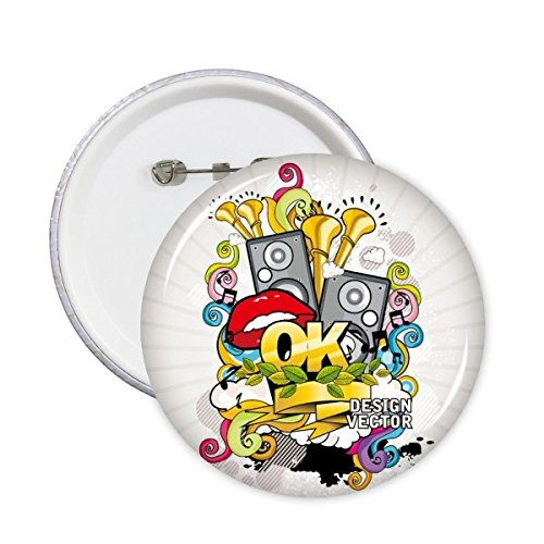 DIYthinker Graffiti Straat Cultuur Kleurrijke Mond Stereo Microfoon Bladeren Ontwerp Vector Amerikaanse Kunst Illustratie Patroon Ronde Pinnen Badge Knop Kleding Decoratie 5 Stks XXL