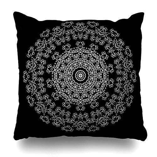N\A Throw Pillow Cover Square SizeBlack árabe Monocromo Contorno Henna asiático en Blanco Bohemio Dibujo diseño étnico Funda de cojín decoración del hogar diseño Funda de Almohada