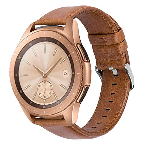 iBazal Correas 20mm Cuero Piel Pulseras Bandas Compatible con Samsung Galaxy Watch 3 41mm/Galaxy Watch 42mm/Active 40mm/Huawei Watch 2/Gear S2 Classic/Gear Sport Hombres Band - Marrón Popular