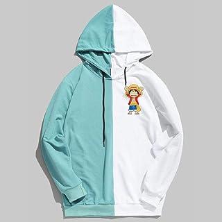 MU-PPX Hombres Mujeres Sudadera Mono Impreso Sudaderas con Capucha Streetwear Patchwork con Capucha Unisex