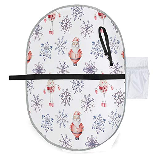 ZZXXB Santa Claus Snowflake Baby Portable Changing Pad Waterproof Diaper Change Mat Large for Infant Quick Change