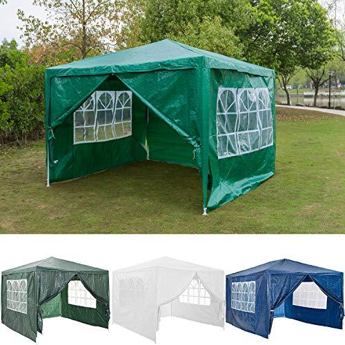 FlyingBanana001 3x3m Garden Gazebo Marquee Tent with 4 Sidewalls Side Panels, Fully Waterproof, Powder Coated Steel Frame for Outdoor Wedding Party Gazebo, Green