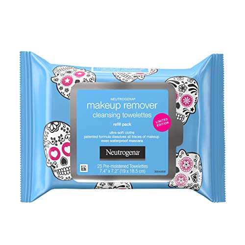 Neutrogena Makeup Remover Facial Cleansing Towelettes, Daily Face Wipes To Remove Dirt, Oil, Waterproof Mascara & Makeup Including Stubborn Halloween Makeup, Gentle, Alcohol-free, 25.0 count