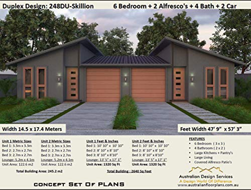 Skillion Roof Duplex Plans Exclusive House Plans Full Architectural Concept Home Plans Includes Detailed Floor Plan And Elevation Plans Duplex Designs Floor Plans Book 2486 Ebook Morris Chris Designs Australian Amazon In