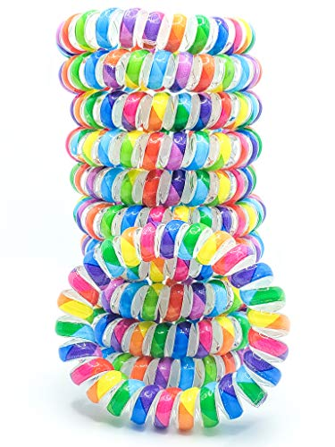 RayBella Spiral Hair Ties - 12pcs BPA-free, Comfortable, Coil Hair Ties, Hair Ties for Women, Phone Cord Hair Ties, Hair Coils (Colorful)