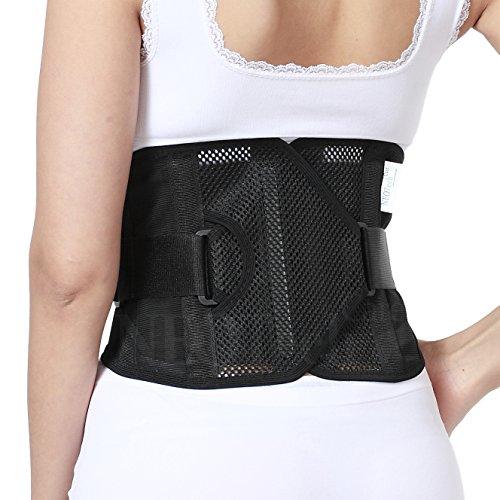 Faja de espalda - ULTRA LIGERA - Apoyo lumbar/para la postura - Tejido transpirable para el ejercicio - Compresión adaptable...