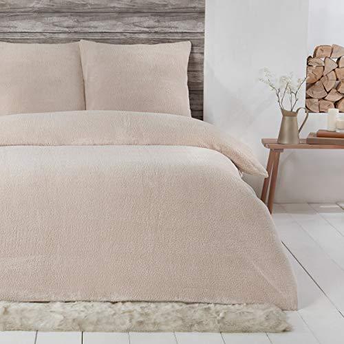 Sleepdown Teddy-Fleece-Bettwäsche-Set, Thermo-Bettwäsche, warm, kuschelig, superweich, 135 x 200 cm + 1 Kissenbezug 80 x 80 cm, Natur