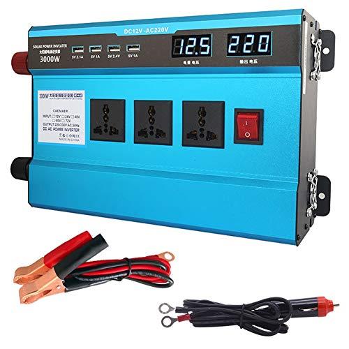 XBNBQ Profesional 12V / 24V DC a 220V AC 500W-4000W Inversor de Corriente Ventilador doméstico Refrigeración Convertidor de Coche para electrodomésticos Fuente de alimentación emergencia24V-3000W