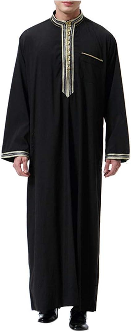 KRUIHAN Abaya Musulmana Camisa Vestir Hombre - Ropa Islamica Abrigo Vestido Jalabiya Kaftan Maxi Larga