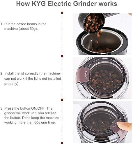 KYG電動コーヒーミル300W電動ミルコーヒーミルコーヒーグラインダープロペラ式ハイパワー急速挽く均一な粉末304ステンレス製ワンタッチで自動挽き掃除簡単豆挽き緑茶や胡椒などにも適用挽き味いい掃除用ブラシコーヒースプーン付き日本語説明書