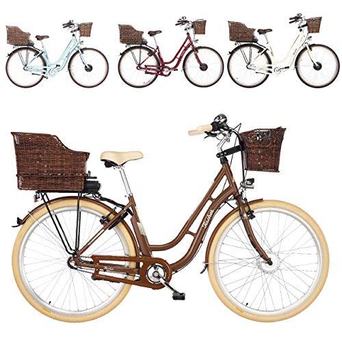 FISCHER E-Bike Retro ER 1804, Elektrofahrrad, braun, 28 Zoll, RH 48 cm, Vorderradmotor 20 Nm, 36 V Akku