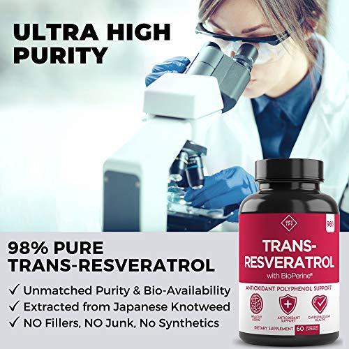 51HZkxhvGrL - New Ultra Therapeutic Resveratrol Supplement - 98% Trans Resveratrol Plus BioPerine - Antioxidant Supplement for Anti Aging and Longevity - 60 Capsule Reservatrol Supplement