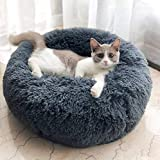 ITODA Soft Pet Bed for Cats and Small Medium Dogs Cuddler Round Cushion Nest Bed Portable Cat Dog Puppy Bed Sofa Doughnut Sleeping Bed Calming Bed Warm Plush Pad Mat Cozy Bed Hut with Anti Slip Base