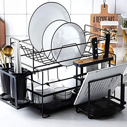 MIAO Geschirrtrockner im nordischen Stil, 2-Farben-Abtropffläche mit Abtropfbrett und Utensilienhalter, Edelstahl-Geschirrkorb für die Küchentheke