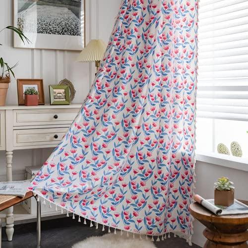 Tende da finestra semi-oscuranti a 1 pezzo di fiori di anguria per soggiorno camera da letto, stile Punch 59 'W x 70,8' L (150x180 cm)